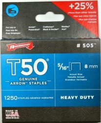ARROW T50 STAPLES 5/16  8mm (1250pk)