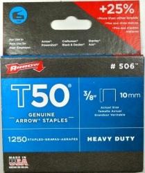 ARROW T50 STAPLES 3/8  10mm (1250pk)