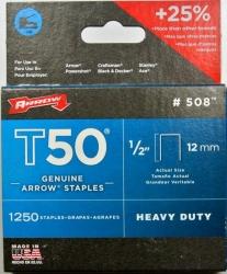 ARROW T50 STAPLES 1/2 12mm (1250pk)